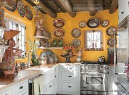 western kitchen design rustic style kitchen with mango walls featured in house beautiful