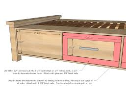 impressive king bed frame with drawers plans and plans to make