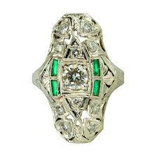art deco diamond emerald ring jems of remuera