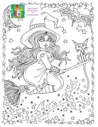 Fall Halloween Coloring Pages by Instant Download Chubby Flying Witch Halloween Coloring Page