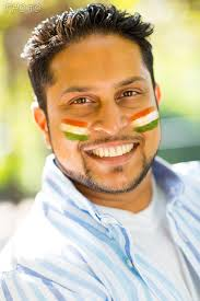 fan faces on a stick make a virtual face paint with flag of india on your cheeks