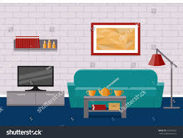 Living Room Furniture Couches Living Room Flat Interior Vector Background Stock Vector 569346532