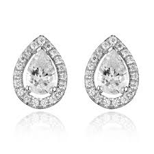 tear drop earrings silver cubic zirconia teardrop stud earrings 0004388