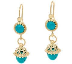 drop earrings gold italian gold turquoise drop earrings 14k gold page 1 qvc