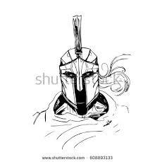 spartan sketch black white cape stock vector 608893133 shutterstock