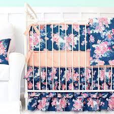 Navy And Coral Baby Bedding Charlie U0027s Coral U0026 Navy Floral Baby Bedding Caden Lane