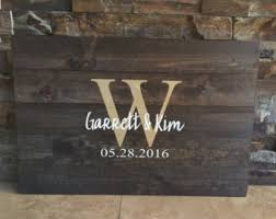 monogrammed guest book wooden guestbook etsy