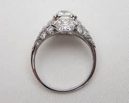 palladium ring palladium filigree diamond ring deco diamond engagement ring