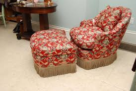 Victorian Upholstered Chair Victorian Style Chintz Upholstered Chair And Ottoman Estate Of