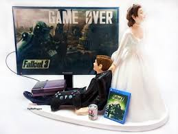 gamer cake topper fallout wedding cake topper gamer and groom