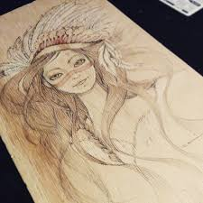 artwork on wood last insomnia by carime quezada pencil and colored pencils