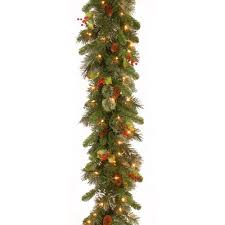 national tree pre lit 9 x 12 wintry pine garland with 100 clear
