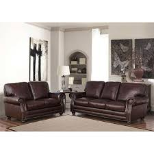 Top Grain Leather Living Room Set Talia 2 Top Grain Leather Sofa And Loveseat Living Room Set