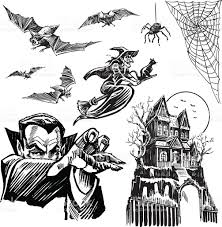 halloween horror witch dracula haunted house bats spider stock