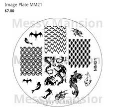 messy mansion plate mm21 dragon dragon scale mermaid nail