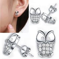 owl stud earrings silver owl stud earrings with cubic zircon for owl
