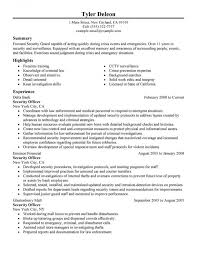 Security Guard Resume Sample No Experience by Security Guard Resume Create Resume For A Security Officer