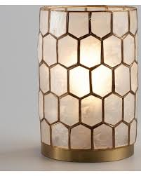 Capiz Shell Sconce Holiday Special Gold Capiz Honeycomb Table Lamp Metallic Gold