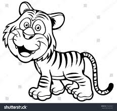 vector illustration tiger cartoon coloring book stock vector