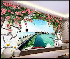 3d mural free shipping modern wall 3d murals wallpaper 3d rose ocean pier