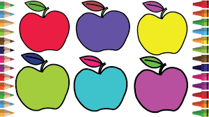 drawing color paint apple fruits coloring page for kids to learn