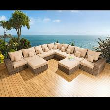 Rattan Table L Outdoor Garden Furniture L Shape Corner Sofa Set Mocha