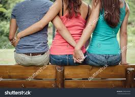 love triangle hugging guy he stock photo 298534949 shutterstock