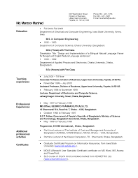 sle electrical engineering resume internship format sle resume for assistant professor in computer science