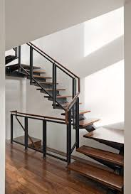 architecture gorgeous metal banister with glass rails and wod