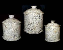 extra large coral marble kitchen canisters set of 3