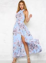 floral maxi dress bohemian halter floral printed split maxi dress oasap