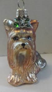 blown glass yorkie terrier dog green bow christmas tree ornament