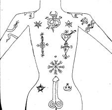 tattoos of witchcraft and magicke blau stern schwarz schlonge
