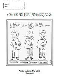Page de garde pour le cahier de français  CP CE1CE2CM1CM2  Fée