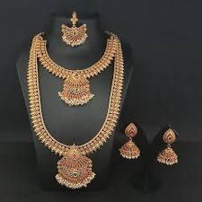 double necklace set images Buy copper double necklace set with maang tikka jpg