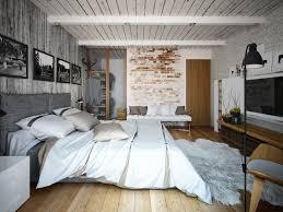 banc chambre coucher design interieur deco loft chambre coucher mur brique banc blanc