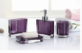 Glass Bathroom Accessories Sets Modern Bathroom With Purple Bathroom Accessories Sets And Purple