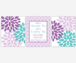 baby girls canvas nursery wall art purple lavender teal aqua with