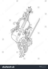 coloring page violin bow flowers leafs stock vector 512679703