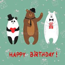cute bears polar brown panda happy birthday card stock vector