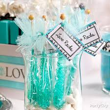 bridal shower party favors personalized rock candy favors idea robins egg blue candy buffet