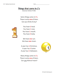 things that come in 1s reading comprehension worksheet