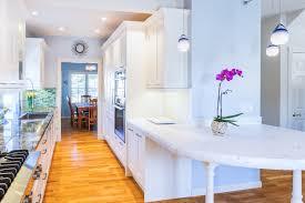 Beach Kitchen Ideas Kitchen Style Galley Kitchen With Narrow Island Marble Countertop