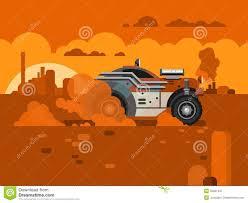 driving fast retro car through desert stock vector image 55821597