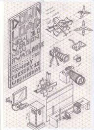 various view of isometric drawings concept sketches orthographic