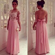 lace pink empire slim evening dresses tulle back transparent floor