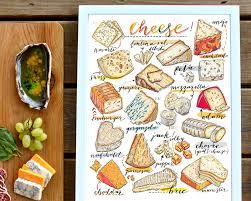 cheese print illustration kitchen decor food art gourmet