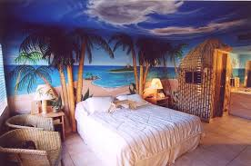 ocean inspired bedroom with coconut tree ornament feat ocean theme