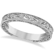 carved wedding band carved floral designed wedding band anniversary ring 18k white gold