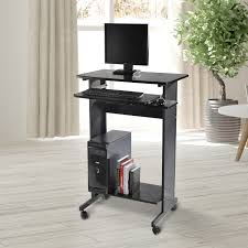 Stand Up Computer Desk by Homcom Home Office Wheeled Stand Up Computer Desk Workstation W